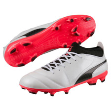 Puma One 17.3 Firm Ground Boot - Puma White/Puma Black/Fiery Coral