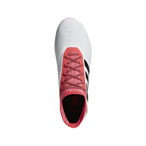 adidas Predator 18.2 Firm Ground Boots - WHITE/CORE BLACK/REAL CORAL