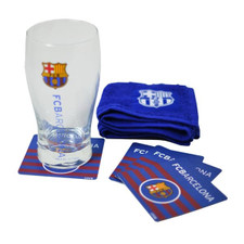 Barcelona Mini Bar Set - Pint Glass, Bar Towel, 4 Coasters