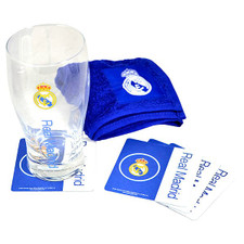 REAL MADRID – MINI BAR SET (PINT GLASS, BAR TOWEL, 4 COASTERS)