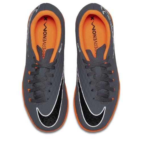 cfa9dca976da ... Nike Hypervenom PhantomX 3 Academy Indoor Boot Jr - DARK GREY/TOTAL  ORANGE-WHITE ...