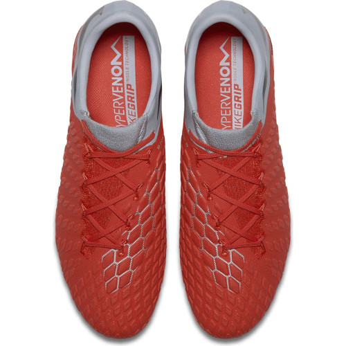 Nike Hypervenom 3 Elite Firm Ground Boot - LT Crimson/Mtlc Dark Grey-Wolf Grey