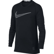 Nike Pro Boy's Black/White Graphic-Print Dri-FIT LS Top
