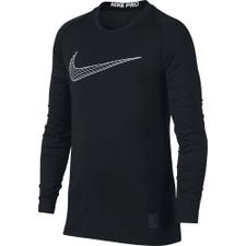 Nike Pro Boy's Black/White Graphic-Print Dri-FIT LS Top