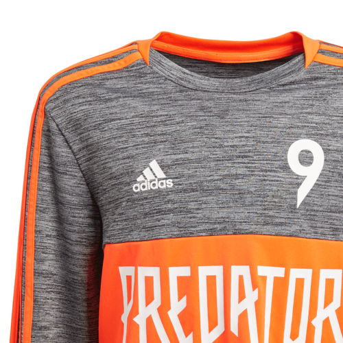 adidas Predator Long Sleeve Jersey JRr- Grey/Red