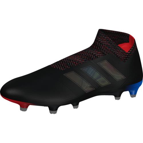 ab39a1765714 adidas Nemeziz 18+ Firm Ground Boots - Black/Black/Blue | SOCCERX