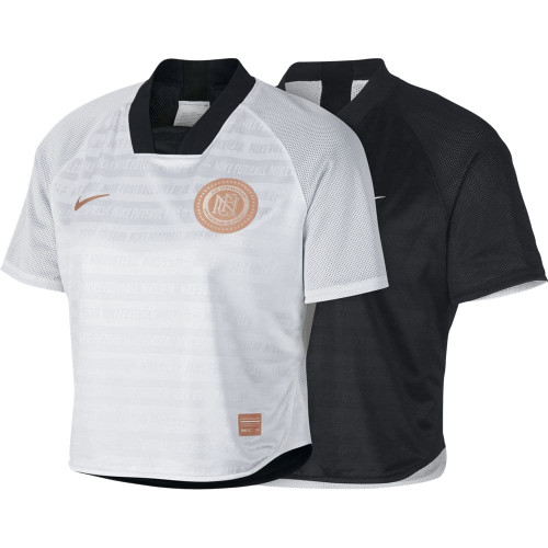 Nike F.C. Dri-FIT Women's Short-Sleeve Soccer Top - Black/White/Rose Gold