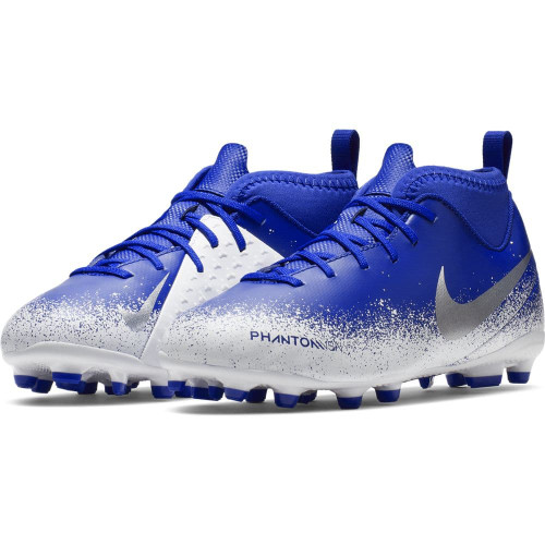 Nike Jr. Phantom VSN Club DF Firm Ground Boots - Blue/Chrome/Black