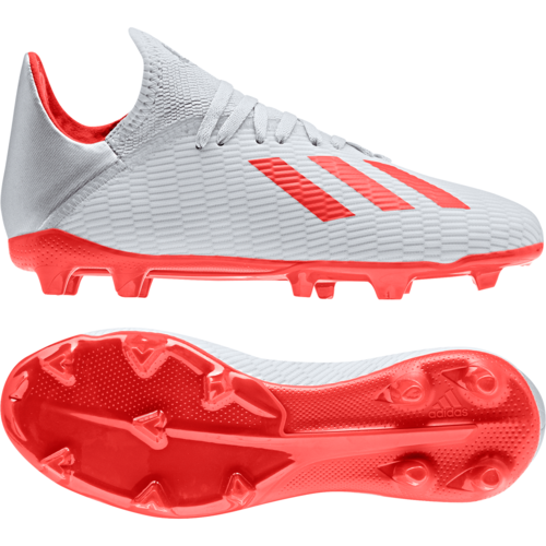 adidas Jr X 19.3 Firm Ground Boots - Silver/Red/White