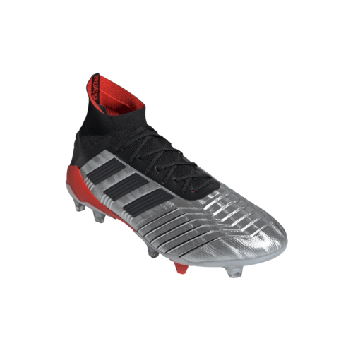adidas Predator 19.1 Firm Ground Boots - Silver/Black/Red