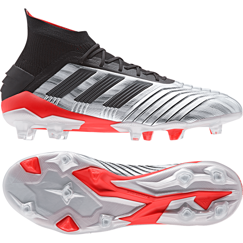 adidas Predator 19.1 Firm Ground Boots SilverBlackRed