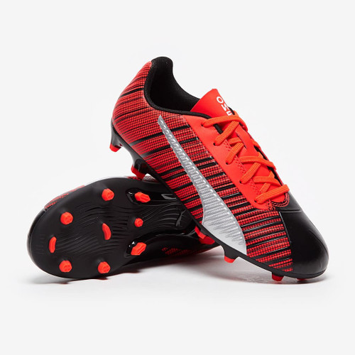 Puma Kids One 5.4 Firm Ground Boots - Black/Red