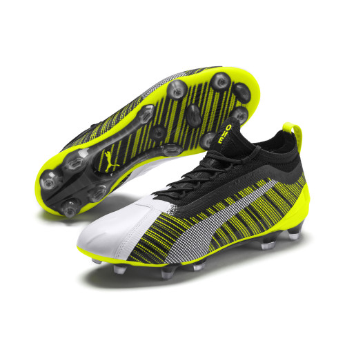 Puma One 5.1 Firm Ground Boots - White/Black/Yellow