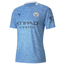 Puma MCFC Home Shirt Rep SSW Sponsor - Light Blue/Peacoat