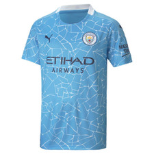 Puma Youth Manchester City FC Home Jersey 20/21- Light Blue/Peacoat