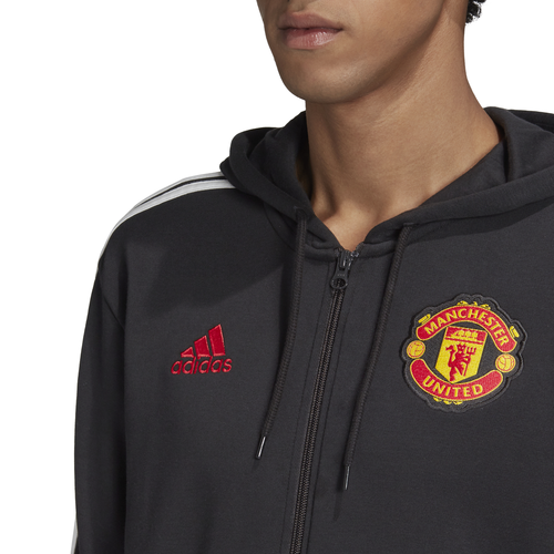 adidas Manchester United 3-Stripes Full-Zip Hoodie - Black