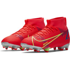 Nike Jr Mercurial Superfly 8 Academy Firm Ground Boots - Crimson/Silver
