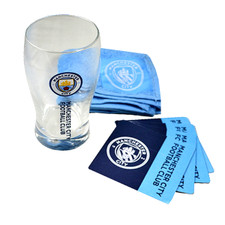 Man City Mini Bar Set - Pint Glass, Bar Towel, 4 Coasters