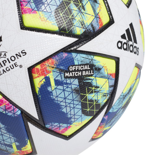 adidas FINALE OMB Ball - Size 5 - White/Bright Cyan/Solar Yellow/Shock Pink